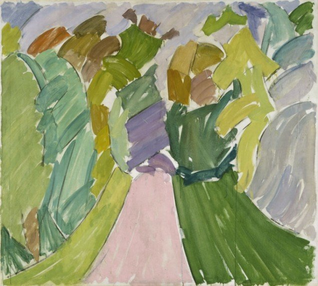 Edvard Weie: Vej gennem skov, ca. 1932. ARoS. Foto: Ole Hein Pedersen.Francisca Clausen: Vasen og piberne, 1929. ARoS. Foto: Ole Hein Pedersen.