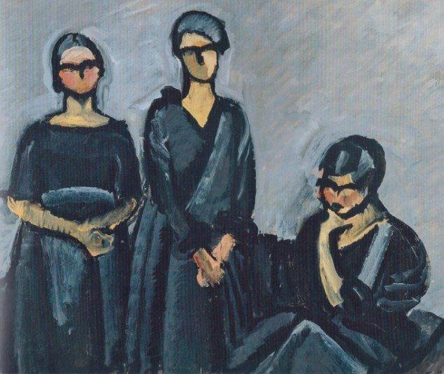 Harald Giersing: Tre damer i sort, 1922 (Foto: scan fra kataloget). Læg mærke til 'damer' og ikke 'søstre'.