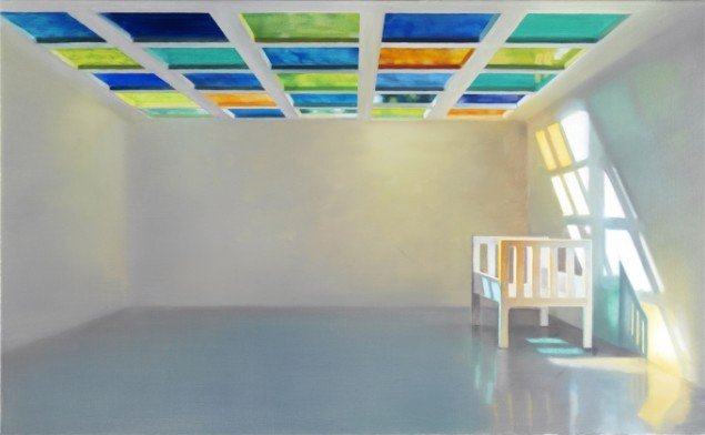 ROOM WITH LIGHT ABOVE, 2008. Olie på lærred, 80x130 cm. Foto: Anders Sune Berg