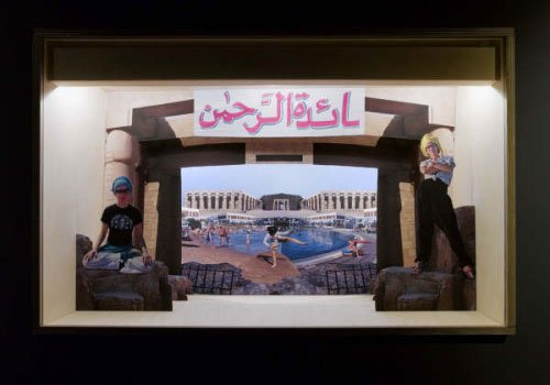 J&K: Guarding Sharm El Sheik or How the Missionary lost the plot in a tourist resort in the time of. Tredimensionel collage i dioramaboks, installationshot, foto: Anders Sune Berg