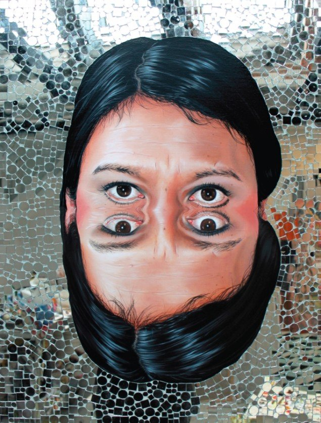 Maria Torp, Focus! 2013 Oil and mirror on canvas, 80 x 60 cm.