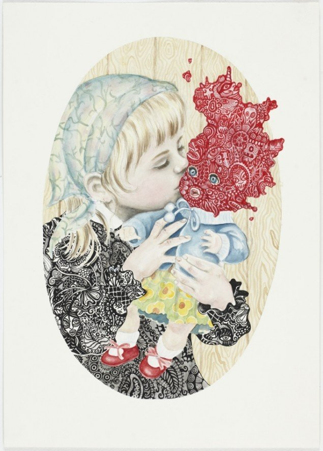 IT V (The Doll) , 2011. Felt-tip pen, ink, watercolor on paper, 52 x 37 cm, Courtesy V1 Gallery. Foto: Anders Sune Berg