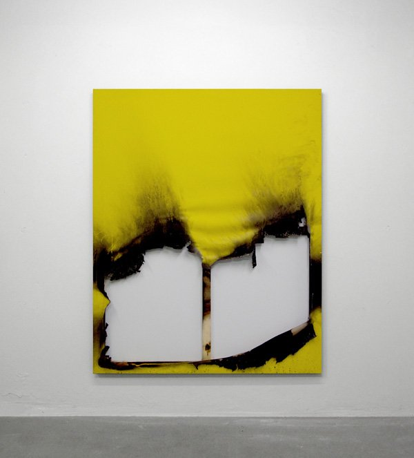 Borderline (new territory) No. 12, Industrial paint, fire and water on canvas 150 x 120 cm, 2012. Foto: Henningsen gallery