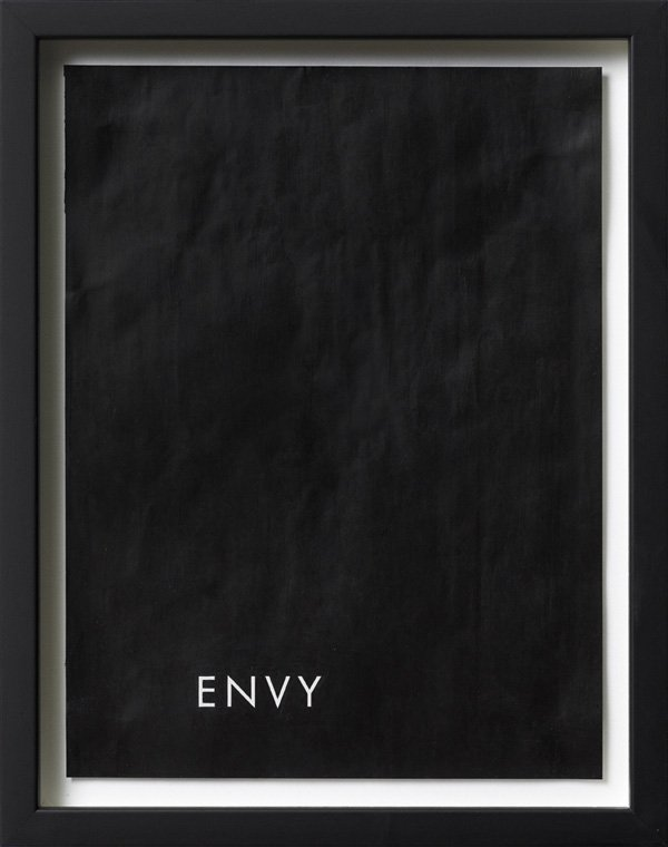 Untitled (envy), Acrylic on magazine advertisement, 27 x 20,5 cm, framed, 2009. Foto: Henningsen gallery