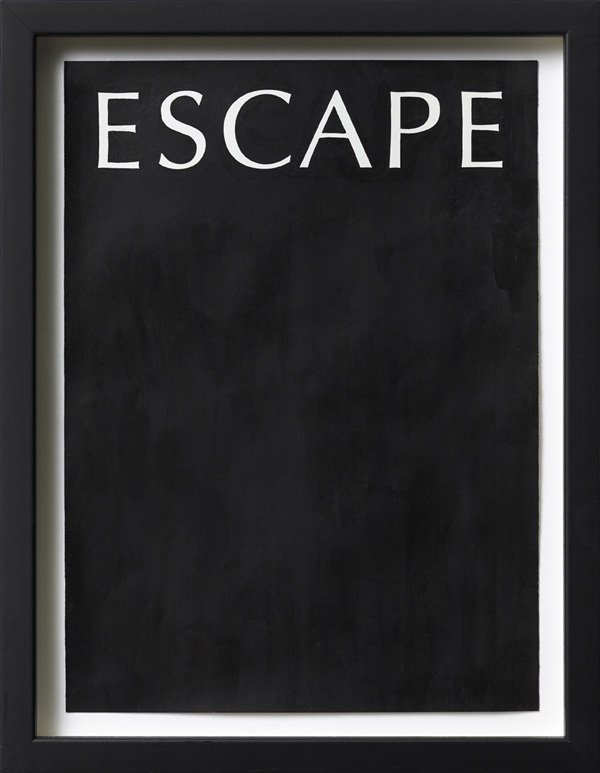 Untitled (escape), Acrylic on magazine advertisement, 27 x 20 cm, framed, 2009. Foto: Henningsen gallery