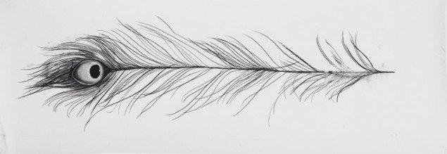 Cathrine Raben Davidsen,The Blessing, 2012. Kul på papir, 42 x 120 cm