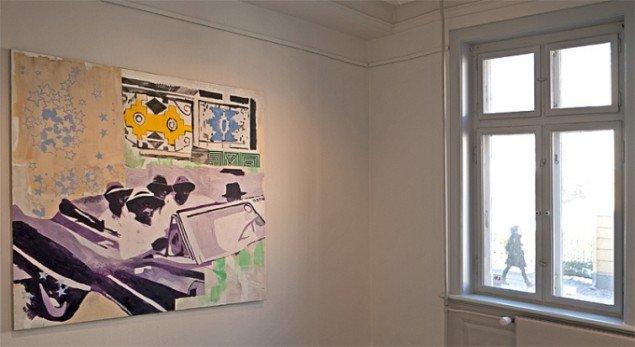 Linda Bjørnskov: Driving in Sophiatown/1950, olie på lærred, 150x160. Foto: Jerry Jakobsfeld