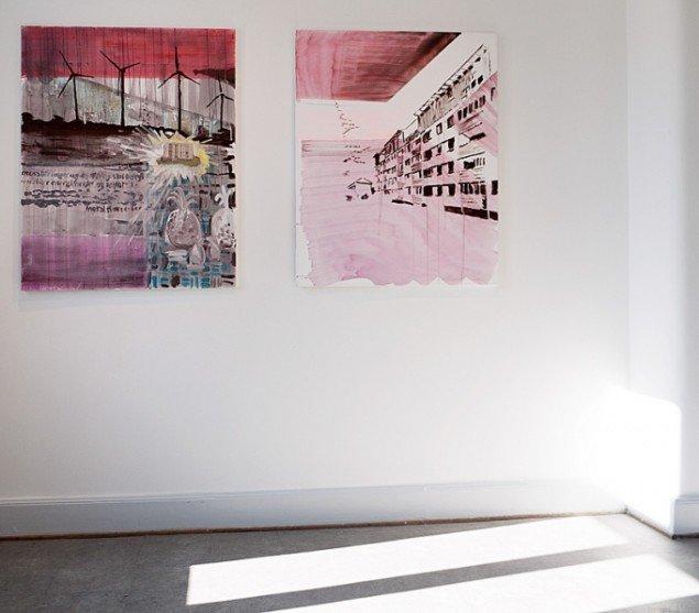 Orsolya Bagala: City – vindmølle, acryl på lærred, 80 x 100 cm og City – Ishøj City, acryl på lærred, 80 x 100. Foto: Jerry Jakobsfeld