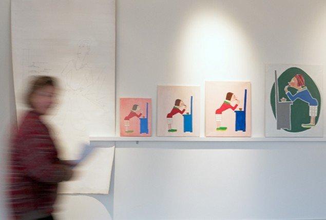 Simon Grimm: CityLight, maleri-installation, acryl, alkyd, olie og tegning på lærred og bemalet lægte (udsnit). Foto: Jerry Jakobsfeld