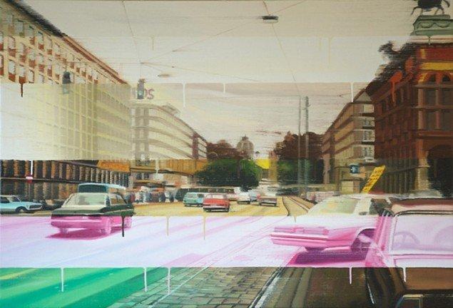 Boulevard i striber, 90 x 131 cm, olie på lærred, 2006 foto: Kurt Nielsen