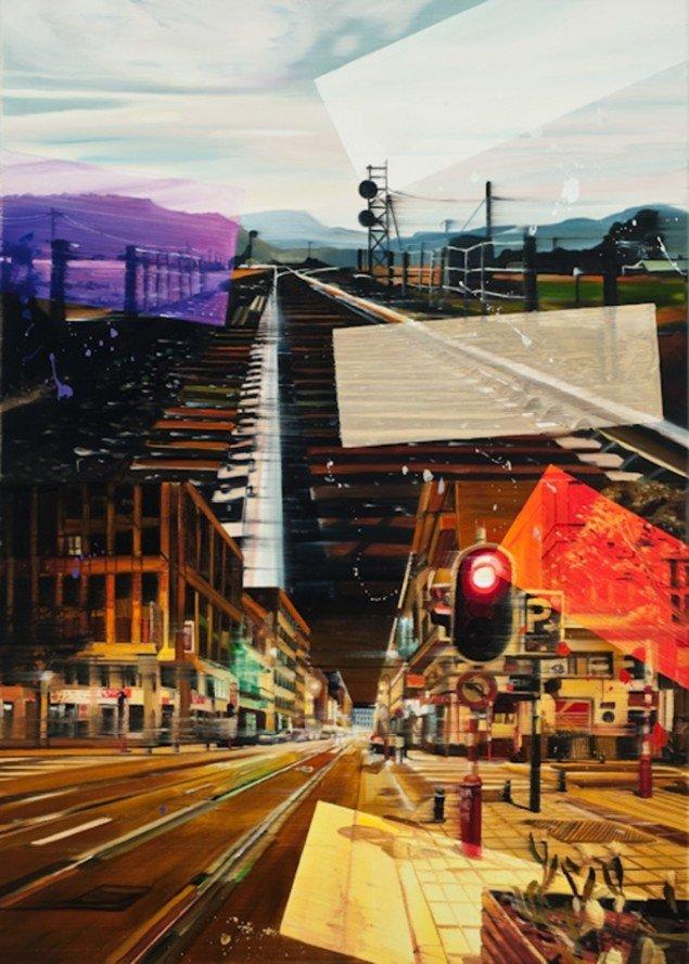 On rails, 140 x 100 cm, olie på lærred, 2010 foto: Kurt Nielsen