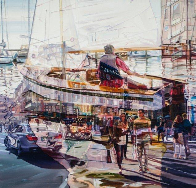 Sailing, 125 x 130 cm, olie på lærred, 2012 foto: Kurt Nielsen