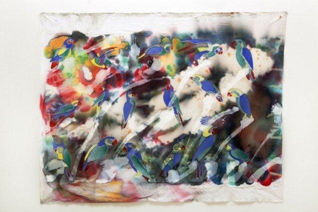 Peter Hentze: Uden titel. Maleri på lagen. Foto: Nils Rosenvold