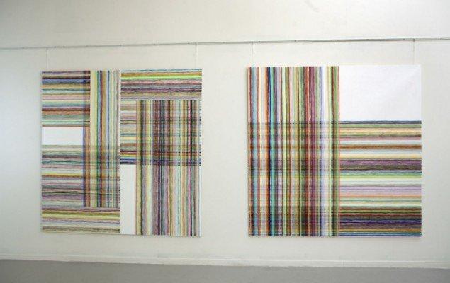 Eva Øhrling: Colour Track 2012. Acryl på lærred. Foto: Nils Rosenvold