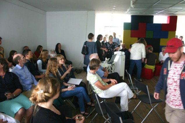 Nogle af de fremmødte til Kunstrådets præsentation. Foto: Kristian Handberg.