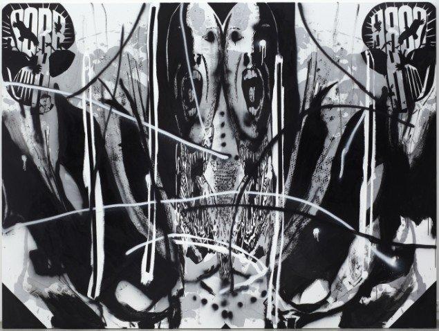 There's a man goin' 'round takin' names, 2010, posca, akryl og spray på lærred, 195 x 260 cm. Foto: Anders Sune Berg.