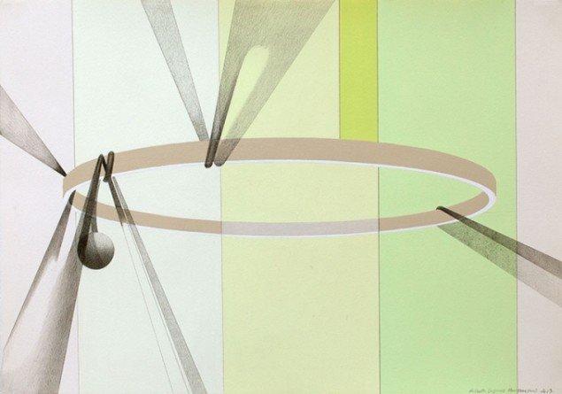 Traust, 2013. Akryl og blyant på papir, 40,5 x 58,5 cm. Foto: Lisbeth Eugenie Christensen