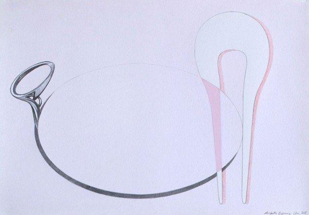 Skitse til Still life II, 2012. Akryl og blyant på papir, 36 x 25 cm. Foto: Lisbeth Eugenie Christensen