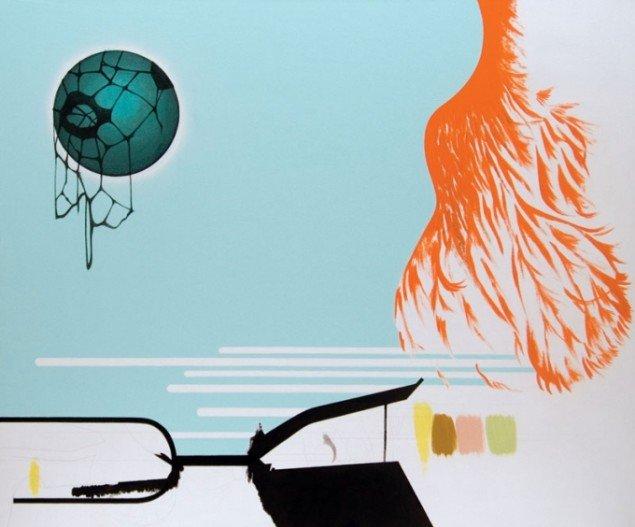 Well, well, well, well, 2008. Akryl og blyant på lærred, 100 x 120 cm. Foto: Lisbeth Eugenie Christensen