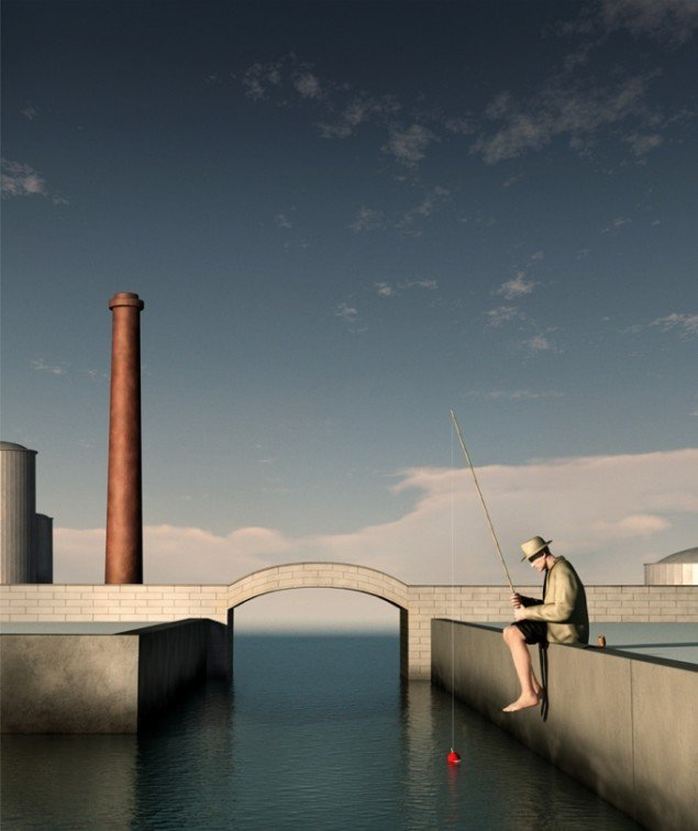 The Harbour at 5 pm 2012, computerskabt billede, detalje, 130 x 110 cm, foto: Ole Tersløse