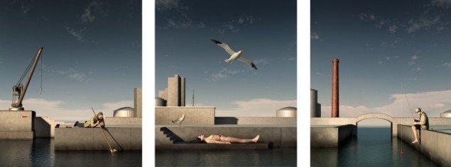 The Harbour at 5 pm  2012, computerskabte billeder - triptykon, 3 x 130 x 110 cm, foto: Ole Tersløse