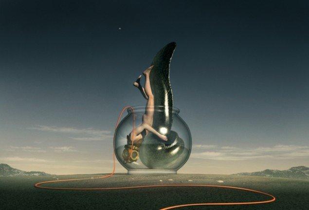 Diver Embrasing an Eel 2012, computerskabt billede, 85 x 125 cm, foto: Ole Tersløse