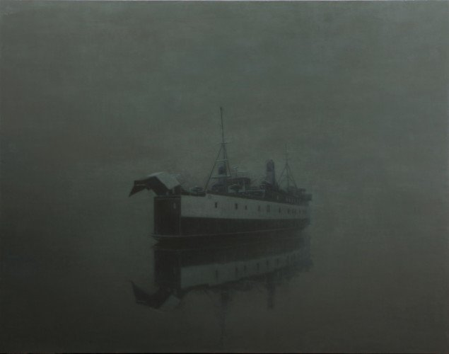 Færge/Ferry, 2013. Olie på lærred/Oil on canvas, 190x240 cm. Foto: Anders Sune Berg.