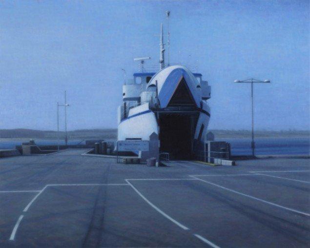 Færge (Fåborg-Søby)/Ferry (Fåborg-Søby), 2011. Olie på lærred/Oil on canvas, 120x150 cm. Privateje. Foto: Anders Sune Berg.