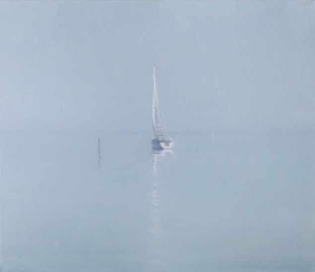 Sejlbåd(Fjellebroen)/Sailboat(Fjellebroen), 2012. Olie på lærred/Oil on canvas, 60x75. Foto: Anders Sune Berg.