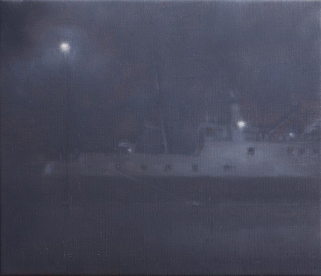 Færge(Nat)/Ferry(Night), 2012. Olie på lærred/Oil on canvas, 30x35 cm. Foto: Anders Sune Berg.