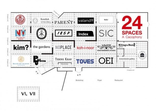Oversigt til udstillingen 24 Spaces – en kakofoni.  (Pressefoto)