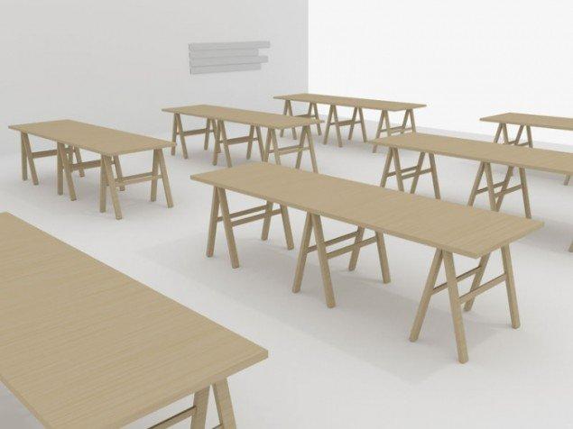 Det danske udstillingssted Koh-i-noor demonstrerer demokrati, når alle otte kunstner-kuratorer præsenterer hver deres udstilling, arrangeret på ensartede borde. (Pressefoto)