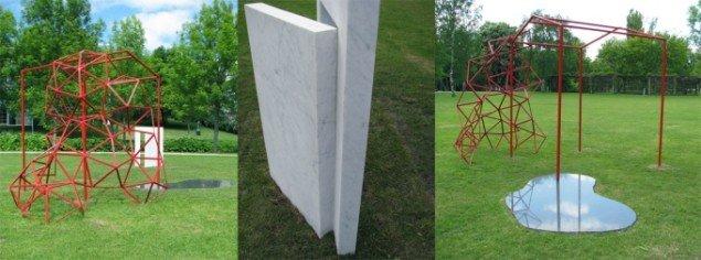 Erindringsrum, 2008. Blå Rønne granit, hvid Carrara marmor og pulverlakeret stål. Foto: Lene Desmentik