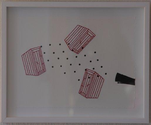 Fred, 2012. Tusch og broderi på papir. 21x32,5 cm. Foto: Jens Didriksen