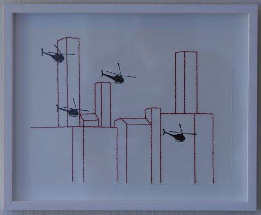 Torden, 2011. Tusch og broderi på papir. 21x32,5 cm. Foto: Jens Didriksen