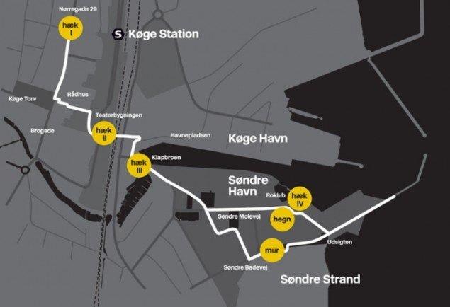 Kort over MUR HÆK HEGN-projektet. (Presse / KØS)