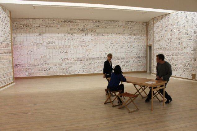 Den nordiska modellen, 2013. Billedet viser hele museets samling udskrevet på A4 ark sat op på væggen i udstillingen. Foto: Anna Sandberg Falk