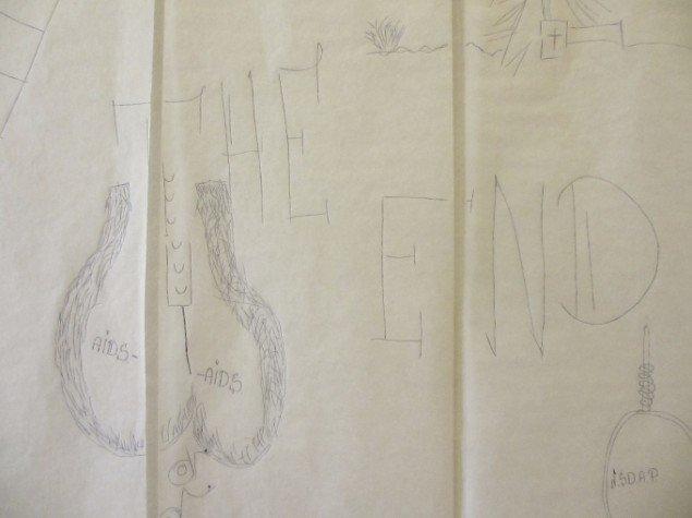 Tom Kietz: detalje fra kalkeret tegning af østeuropæer. Foto: Ole Bak Jakobsen