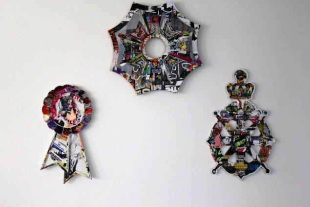 Markus Lohmann: Orden, 2011-12. Medaljer. vægobjekt. (Wandobjekt/ Papierschnitt) Tryk på papir. Foto: Thomas Wolsing