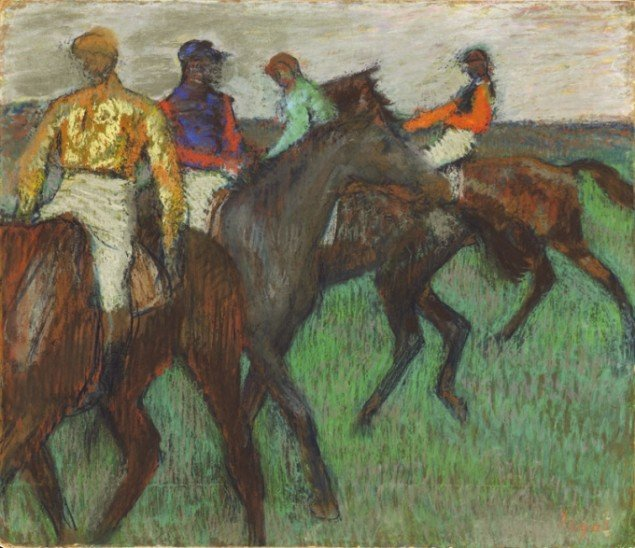 Edgar Degas, Racehorses, c. 1895-1899, Pastel on tracing paper on cardboard, (National Gallery of Canada)