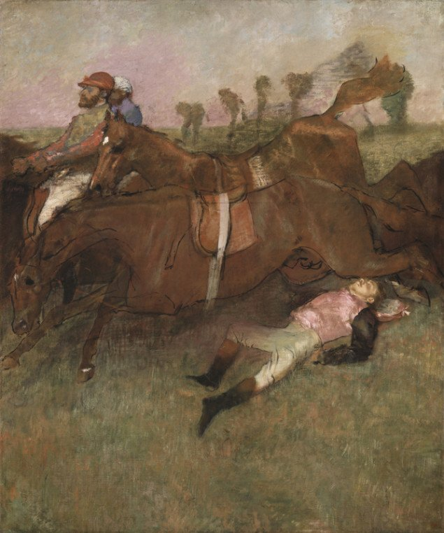 Degas, Scene from the Steeplechase: The Fallen Jockey, 1866, reworked 1880-1881 and c. 1897, oil on canvas, Collection of Mr. and Mrs. Paul Mellon, (National Gallery of Art, Washington)