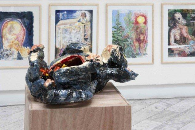 Mis, Erik Hagen, 2013. Installationsfoto – i baggrunden ses lidt af Arbejdstegninger 1985-2013. Foto: Thomas Cato.