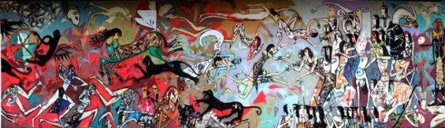 Alaa Awad: Battle Mural, Tahrir Square, Cairo, 2012. En del af projektet How far away is the horizon? kurateret af Solvej Helweg Ovesen i samarbejde med Holbæk Kommune. (Pressefoto)