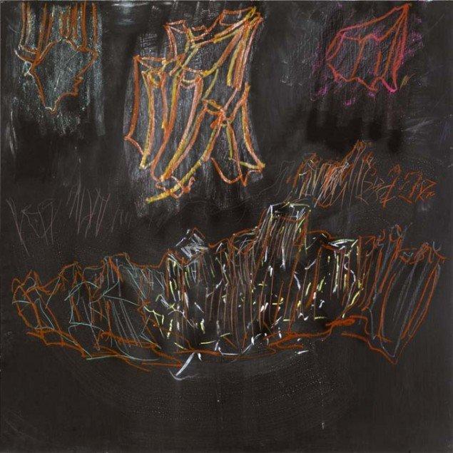 Uden titel (Læsø), 2008. Mixed media på tavle. 122 cm x 122 cm. Foto: Galleri Bo Bjerggaard