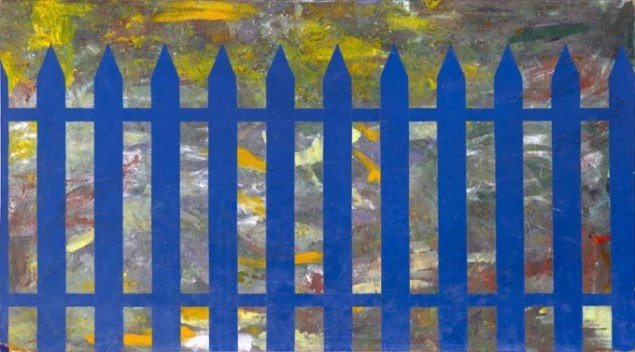 Stakit / Fence, 1965-1966. Mixed media på masonit. 122 cm x 243 cm. Foto: Galleri Bo Bjerggaard