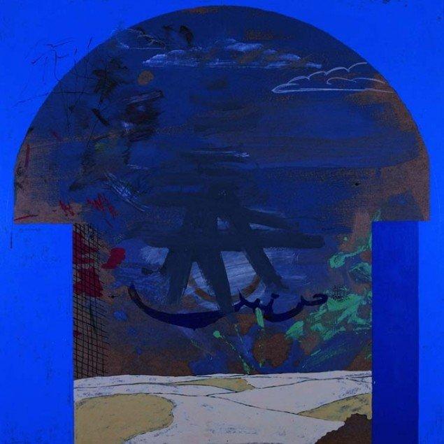 Uden titel, 1968.  Mixed media på masonit, 122 x 122 cm. Foto: Galleri Bo Bjerggaard