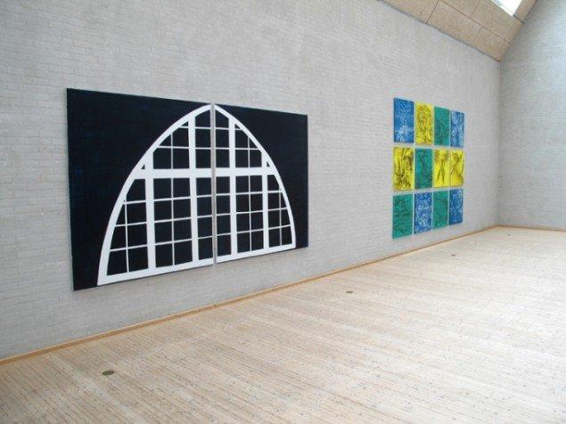 PORTAL 2 , 190 x 340 cm, akryl på lærred, 2013 og ALL REAL, 12 x 80x 75 cm, akryl på lærred, 2013. Foto: Jonas Hvid Søndergard