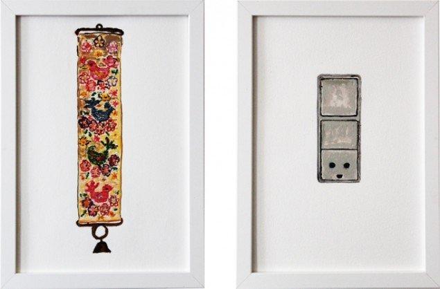 Lars Heiberg: Uden titel, 2013, vandfarve, A4  og  Switch, 2013, vandfarve, A4. Foto: Lars Heiberg