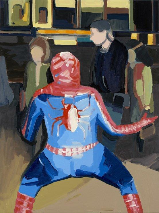 Erik A. Frandsen: Spiderman, New York, olie på aluminium, 80 x 60 cm, 2005. Foto: Jan Søndergaard
