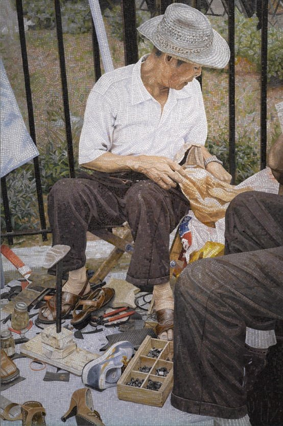 Erik A. Frandsen: Shoemaker, Chinatown, New York, Mosaik , 220 x 145 cm, 2008. Foto: Erik A. Frandsen